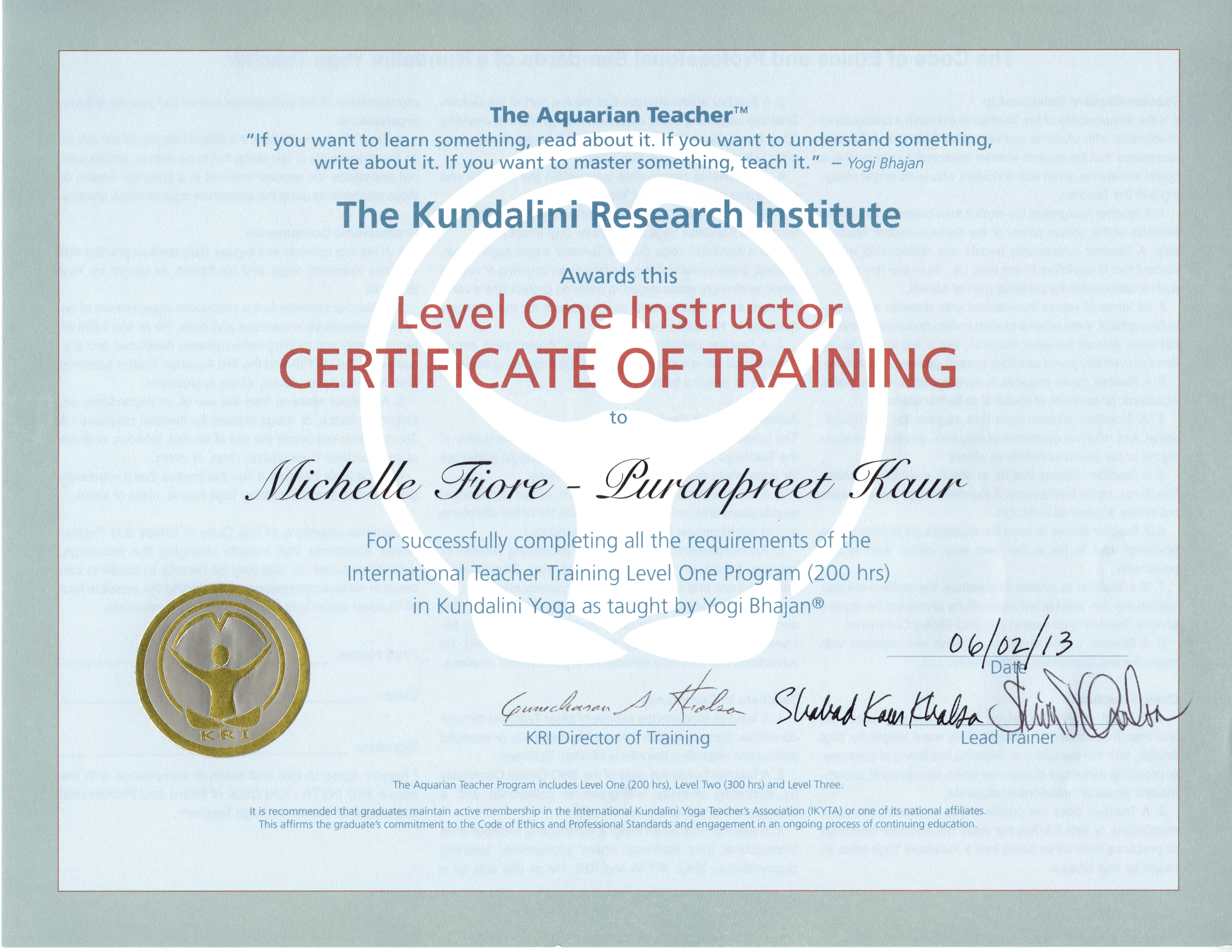 Certifications Michelle Fiore